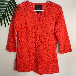 Talbots orange eyelet embroidered blouse SZ 8